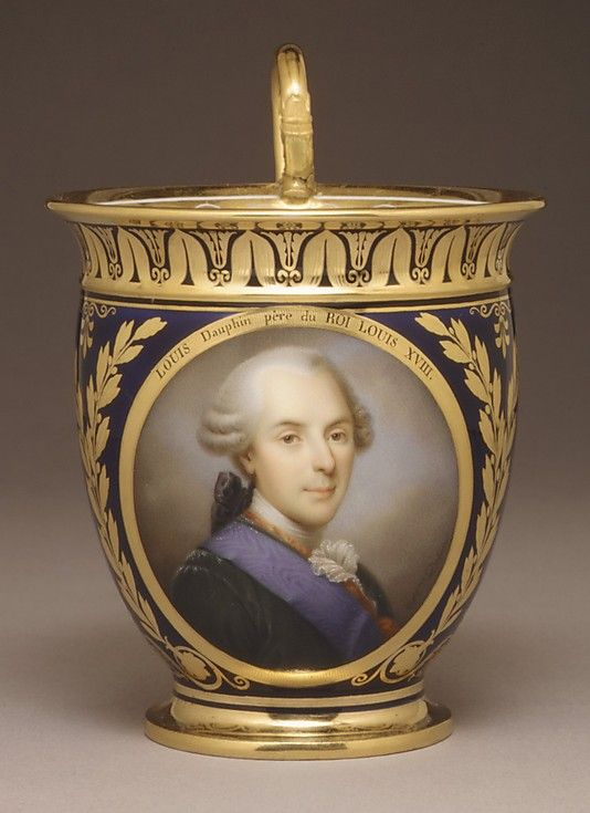 This amazing little cup was used for chocolate.  Made in the Sèvres Factory in the early 19th century, it was hand painted after a portrait by Marie Victorie Jacquetot.  The portrait is of Louis Dauphin, the father of Louis XVI, Charles X and Louis XVIII.: