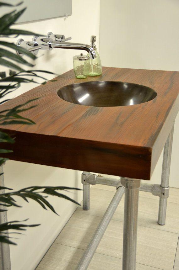 Concrete Round Bowl Vanity Top Sink Wood By ArtifactConcrete, $640.49