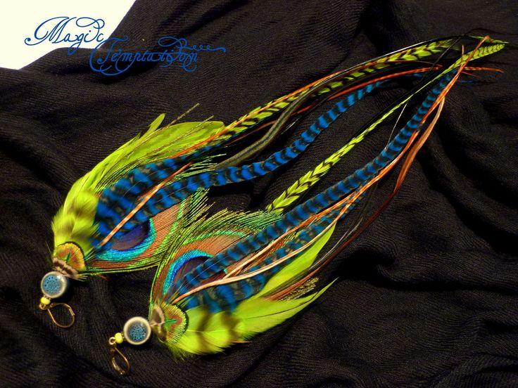 Сине-салатовые серьги из павлиньих перьев - синие серьги,серьги синие