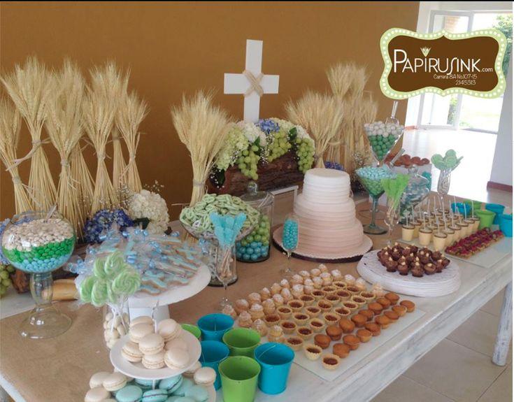 Mesa de dulces primera comuni n ni o postres decoraci n for Mesas dulces comunion nina