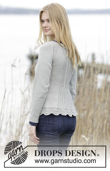 "Knitted DROPS jacket with raglan, cables, lace pattern and wave pattern in ""Cotton Merino"". Size: S - XXXL. ~ DROPS Design"