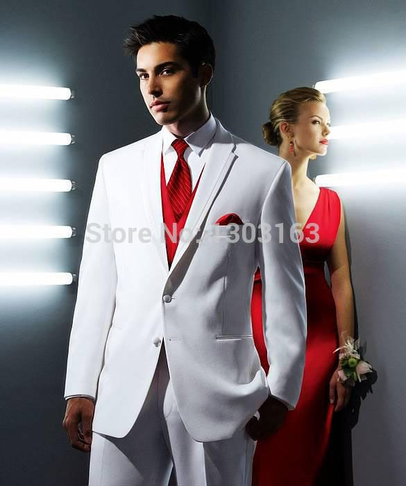 >> Click to Buy << 2016 Suits White Groom Tuxedos Groomsmen Men Wedding Suits Best man Suits Prom Clothing (Jacket+Pants+Vest+Tie) #Affiliate