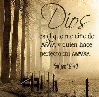 Salmos 18:32 Dios es el que me ciñe de poder, Y quien hace perfecto mi camino. ♔