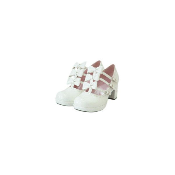 """Classical White 2 2/5"""" High Heel PU Lolita Shoes ❤ liked on Polyvore featuring shoes, heels, lolita, mid-heel shoes, white mid heel shoes, white shoes, polyurethane shoes and pu shoes"""