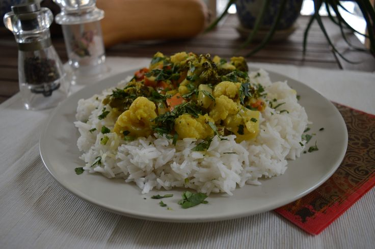 Mixed Vegetable Curry with Coconut Milk and Basmati Rice