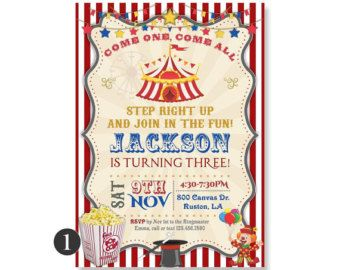 Carousel Birthday Party Invitation. Carnival Party by 800Canvas