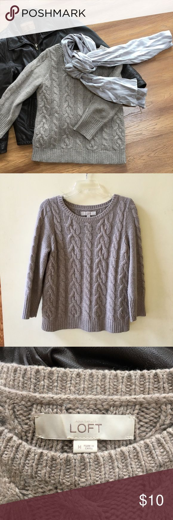 Ann Taylor Loft sweater Ann Taylor Loft crewneck sweater with three-quarter sleeves, color: pale taupe with metallic silver strands woven throughout for a subtle shimmery effect, size medium. Super soft, made of a blend including cotton, wool and rabbit hair. LOFT Sweaters Crew & Scoop Necks