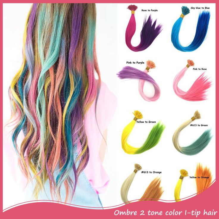 Ombre Color I Tip Hairpieces 100pcs/lot 18inch 45cm Long Rainbow 2 Tone Feather Hair Extensions Decoration Best Gift For Party