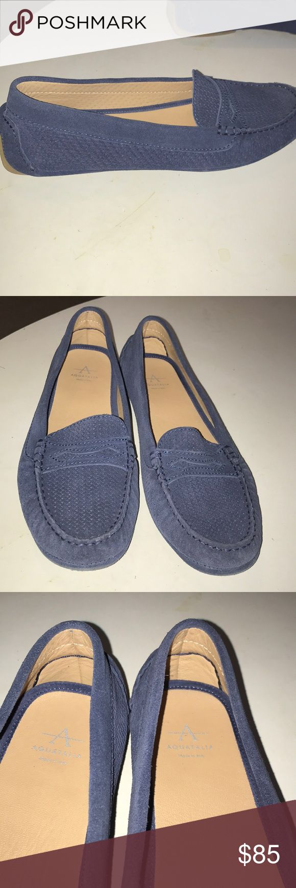 Aquatalua loafers Suede blue penny loafers. Perforated design. Upper vamp coin slot. Rubber backing on heels. Rubber signature soles. Leather cushiony lining. Super comfy & cute. Great quality loafers. Great condition Aquatalia Shoes Flats & Loafers
