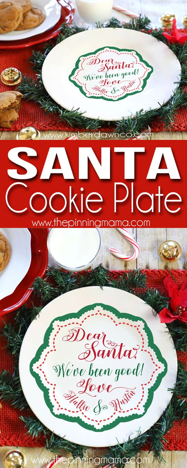 Cricut Christmas Craft Ideas Part - 48: Free Santa Cookie Plate SVG Cut File For Silhouette CAMEO Cricut Crafts!  Perfect Craft Idea For Christmas!