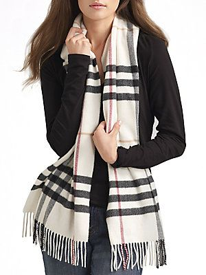 Burberry Cashmere womens Check Scarf Ivory Giant v  free review    run