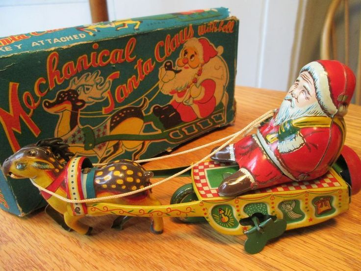 Wind up Santa Claus and Sleigh - Tin Toy - 1950's Japan