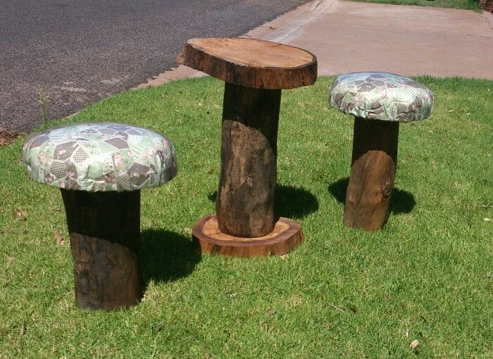 Mushroom chairs and log table. Made by a woman! #teatime.  my first attempt working with wood