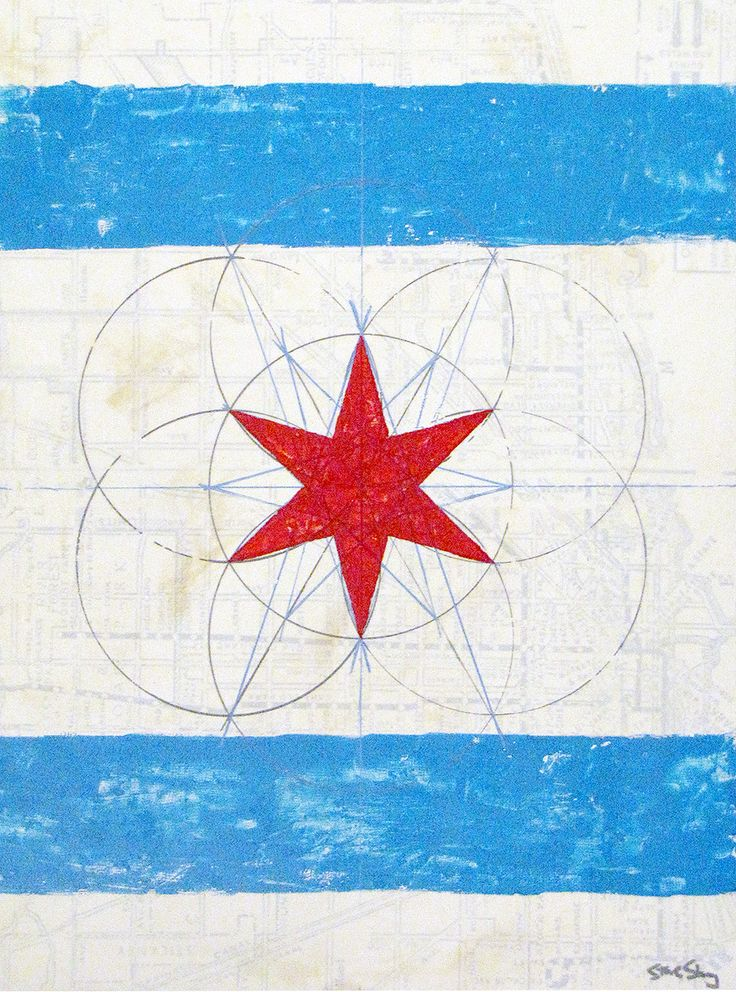 """Chicago Flag Red Star - 12""""x16"""" on wood.  The artistic diagram shows how the six-pointed star in the Chicago city flag is created.  Vintage CTA map in the background."""