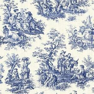 Waverly COUNTRY LIFE WEDGEWOOD BLUE Toile Fabric BTY