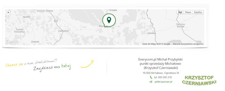 Everycom.pl Michal Przybylski  punkt sprzedaży Michałowo  (Krzysztof Czerniawski) 16-050 Michałowo, Ogrodowa 34 tel. 605 045 210 web pellet-poznan.pl