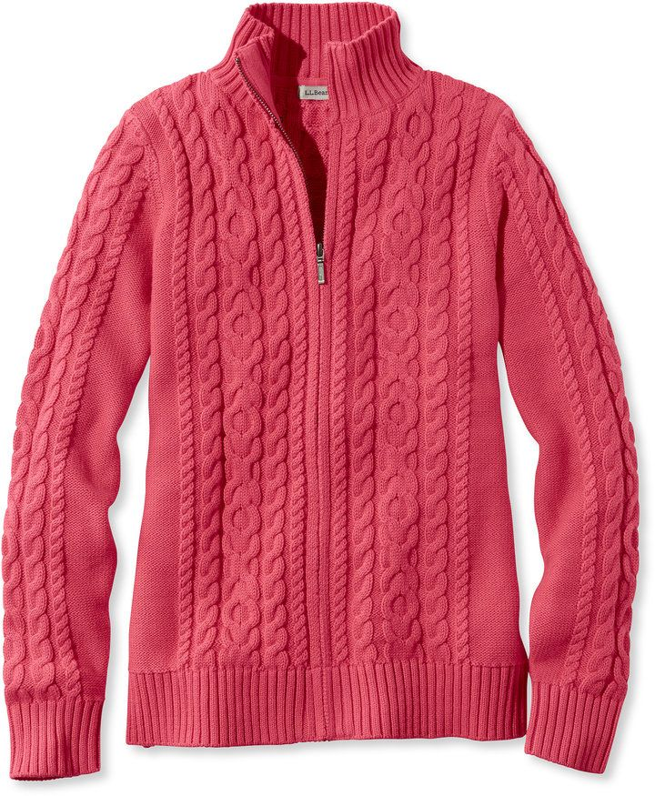 Women's Double L Mixed Cable Sweater, Zip-Front Cardigan