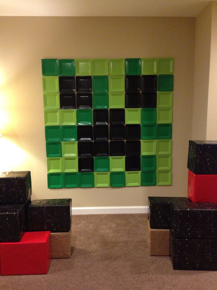 Wall Decorations Minecraft : Creeper small paper plate wall decor minecraft
