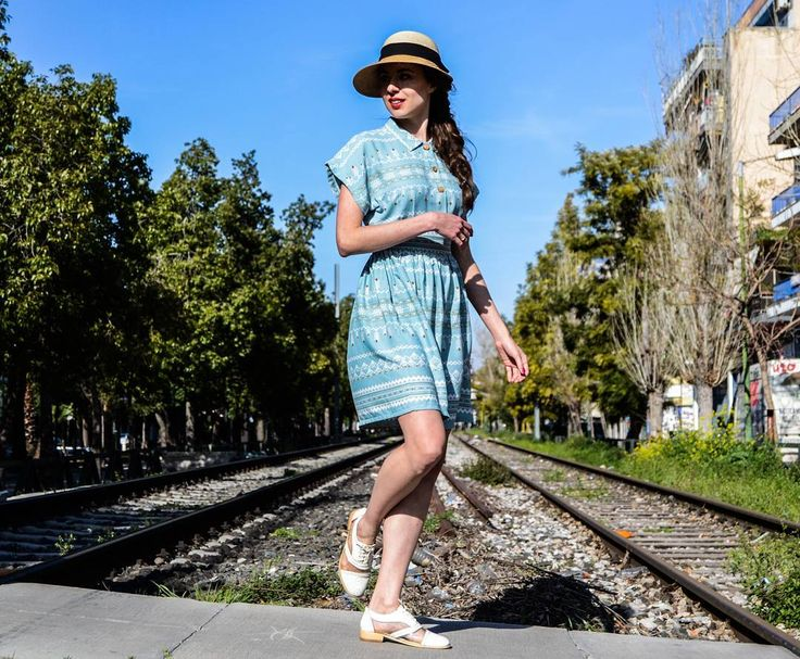 Dress up or dress down? Our Ciel Summer Dress is the best choice 👌.  Find it on our Etsy store with 20% discount. Link in bio.   #comelybop #summerdress #summer2017 #greekdesigners #greekfashion #lightblue #hat #vintagedress