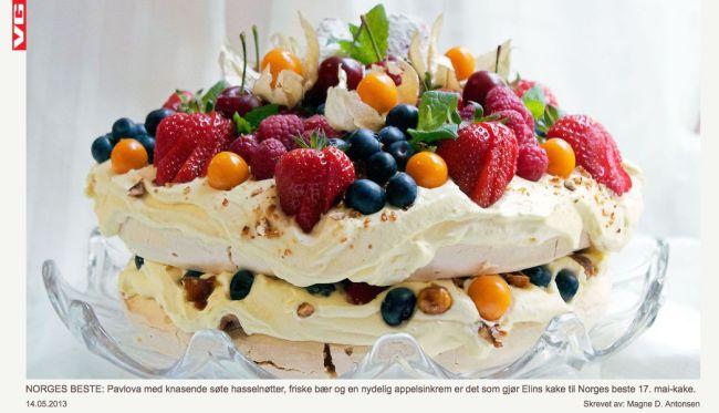 Pavlova med appelsinkrem, karameliserte hasselnøtter og sommernes bær | elinlarsen.netelinlarsen.net