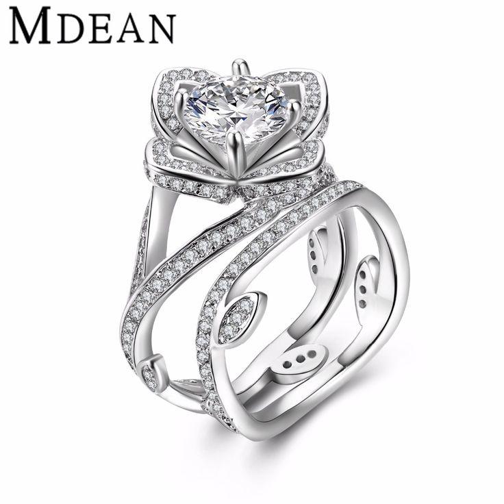MDEAN Oro Bianco Ha Placcato L'anello per le donne Di fidanzamento donne anello di nozze Accessori moda diamante DELLA CZ dei monili dell'annata MSR811