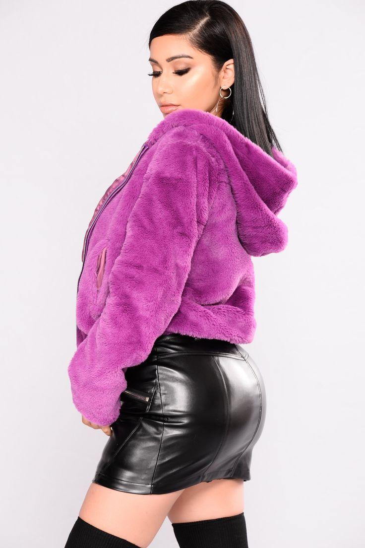 Irene Faux Fur Hooded Jacket - Purple