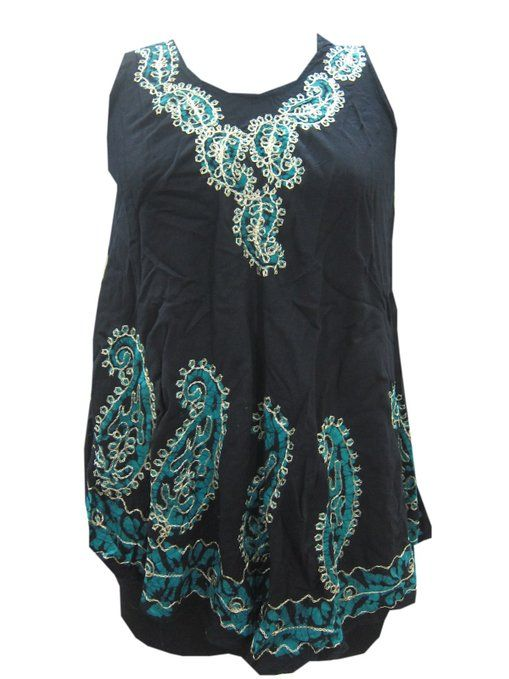 Boho Tank Top Black Paisley Embroidered Holiday Wear Hippie Gypsy Dress Tops  #tankdress #tanktop #beachdress #bohodress #tiedyedress #hippiedress #mogulinterior.com