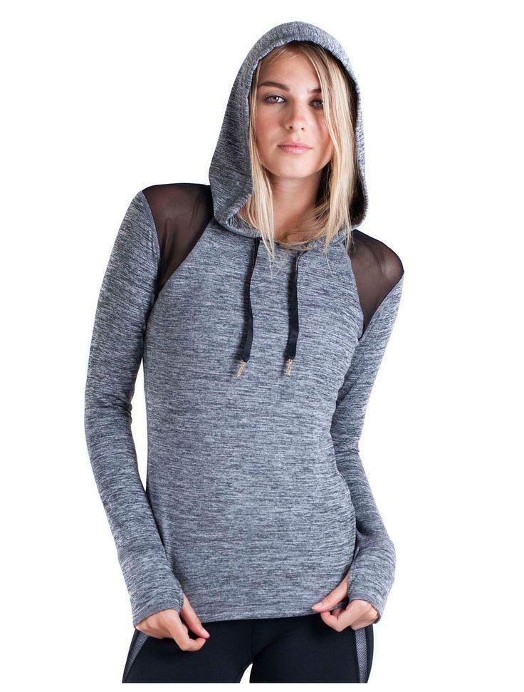 Heather Grey flyweight tee hoodie with mesh on shoulders and back super  cute. Mesh HoodieLong Sleeve ...