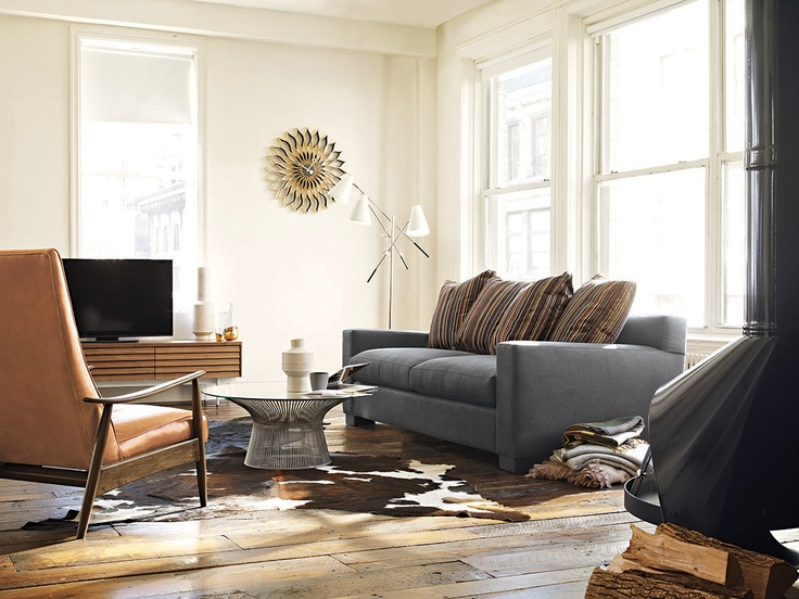 Muse Sofa shown with the Milo Baughman Recliner 74  #dwr #livingroom #dwrLivingRoomSale: Coffee Tables, Modern Living Rooms, Dwr Living, Design Ideas, Design Within Reach, Recliners 74, Milo Baughman, Cowhide Rugs, Baughman Recliners