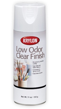 Low Odor Clear Finish  Clear, latex enamel finish protects like traditional clear coatings in a low odor formula.        Permanent, protective finish      Suitable for indoor and outdoor use      Non-yellowing; soap and water clean up    Dry to Touch      15 minutes  Dry to Handle      3 hours    For use with      Wood, Metal, Wicker, Plastic, Glass, Craft Foam, Plaster, Ceramic, Paper, Paper Mache, Dried/Silk Flowers. Cathy Gibson Streitmatter