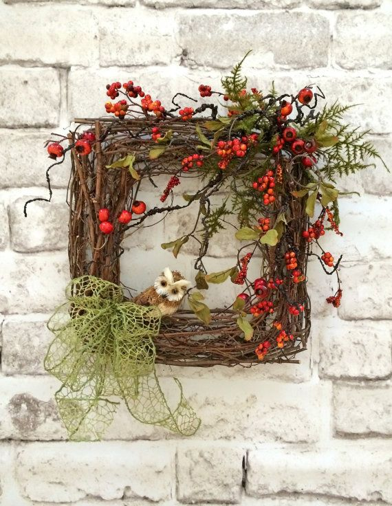 Charming Owl Wreath, Square Wreath, Front Door Wreath, Grapevine Wreath, Silk Floral Wreath, Outdoor Wreath, Berry Wreath, Etsy -    This charming owl wreath is so lovely and unique! I made this wreath using a square grapevine wreath base adorned with burnt-orange berries, greenery, an adorable little owl, and a beautiful lime green bow. This wreath would look wonderful on your front door or on an interior wall. Its perfect to display anytime of year!    • Already made and ready to ship!  •…