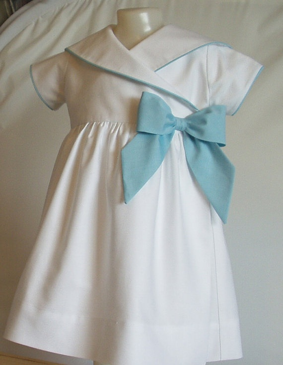 White Oxford Sailor Dress with Side Bow 3 by patriciasmithdesigns, $98.00