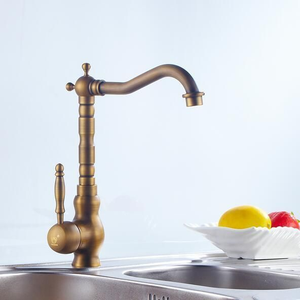 Free shipping Kitchen Swivel Faucet Antique Brushed Finish Classic Retro Style Bathroom Mixer Tap Crane 5027H
