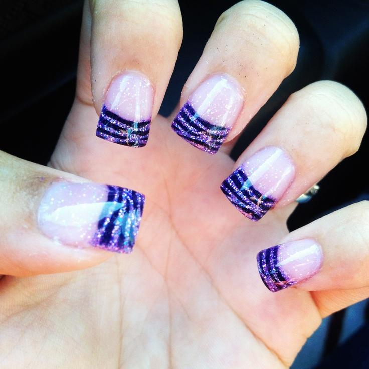 Purple zebra print nails