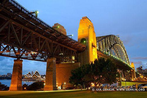 Sydney Harbour Bridge at Twilight from Bradfield Park, Sydney, New South Wales (NSW), Australia