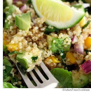 Quinoa Taco Salad - Festive dish alone or with shrimp, beans, goat cheese, etc http://on.webmd.com/PxPGuo