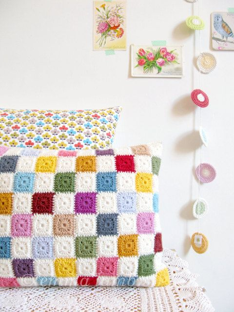 Luella, multi colored geometric patchwork crochet cushion cover, granny chic home decor - READY TO SHIP, by Emma Lamb. £70,00, via Etsy.