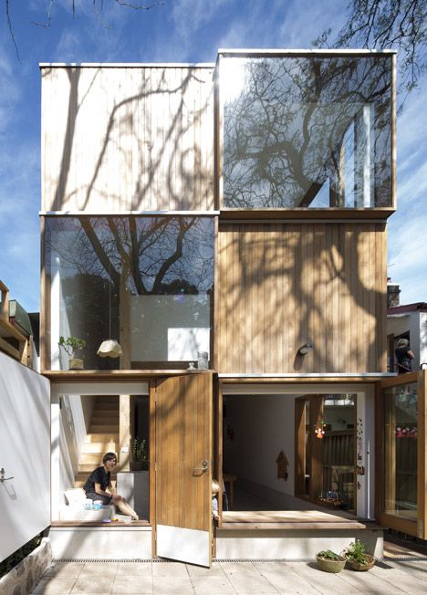 Alternating cubes of timber and glass cover the back of this Sydney house extension by Australian office Panovscott