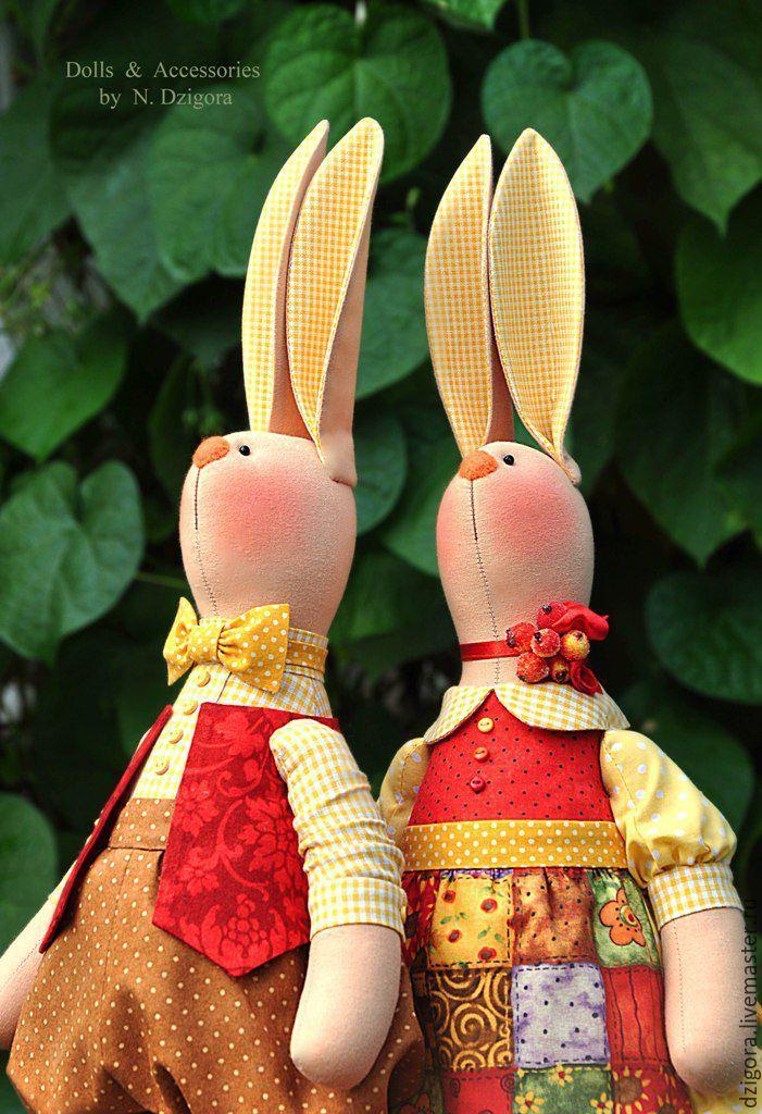 Купить Кролики - дачники - зайцы, зайцы ручной работы, зайцы текстильные, кролики, зайцы-дачники