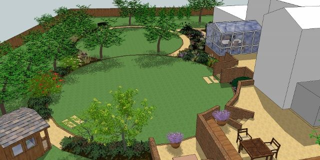 Garden Design Plan by Sally Bishton, SketchUp by Gaynor Witchard www.witchardgardens.com