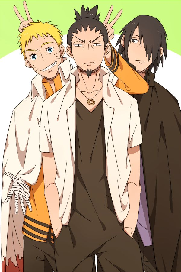 Shikamaru, Naruto and Sasuke. I love how they're doing peace signs above their heads lol. My friends used to do it when we were kids and we thought it was funny so we made it a tradition (but it died off a year later).