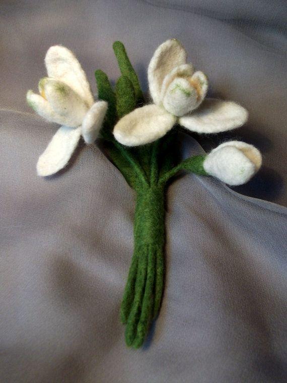 felted Brooch Snowdrop, Felt, Brooch, Flowers