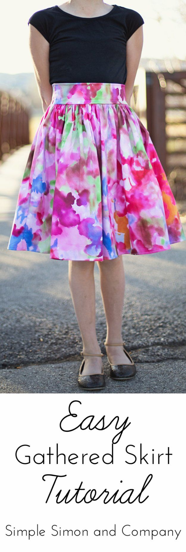 DIY Sewing Projects for Women - Easy Gathered Skirt Tutorial - How to Sew Dresses, Blouses, Pants, Tops and Fashion. Step by Step Tutorials and Instructions  http://diyjoy.com/diy-sewing-projects-for-women