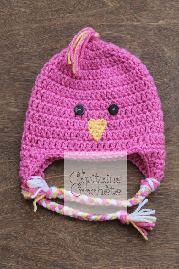 SALE 3-9 months hat chick pink beanie by LaCapitaineCrochete