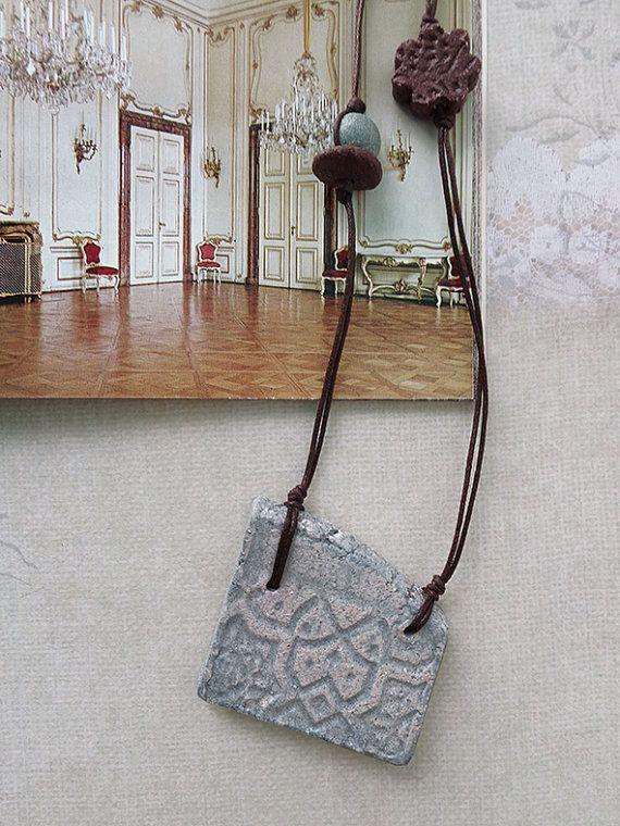 Light blue asymmetrical ceramic handmade pendant necklace
