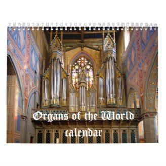 Not sure yet as it hasn't even been made, let alone delivered! But it has all new photos this year and is the latest calendar in my organ calendars Zazzle shop! Will be available for sale once I have proofed it and am happy with it. So watch this space...