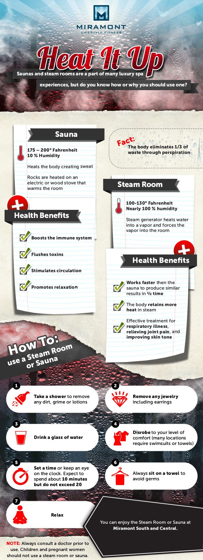 Detox The Body with Heat: Try a Sauna or Steam Room to Get Rid of Toxins.  Check Out the Many Health Benefits of Saunas and Steam Rooms!