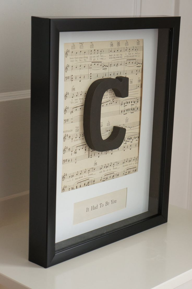 Wedding Frame Personalized Vintage Sheet Music First Dance Song Title Unique Anniversary Gift Black and White Initial Frame Shadowbox. $55.00, via Etsy.