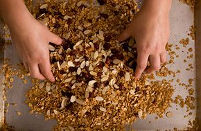 Basic Granola Recipe -  10 minutes for second time is a little too long, perhaps try five or reduce temperature.