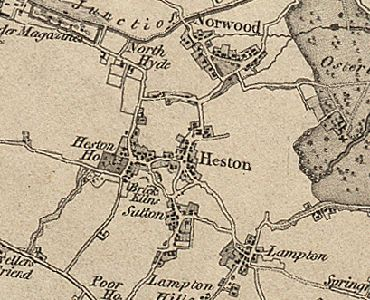 """""""HESTON, a village and a parish in Brentford district, Middlesex. The village stands near the Grand Junction canal, 1½ mile S of Southall r. station, and 1½ N by W of Hounslow; is irregularly built, yet contains good houses and villas; and has a post office under Hounslow, London W, and a fair on 1 May. The parish contains also the hamlets of Sutton, Lampton, Cranford, Scrattage, and Spring Grove, and parts of the hamlet of North Hyde and the town of Hounslow. """""""